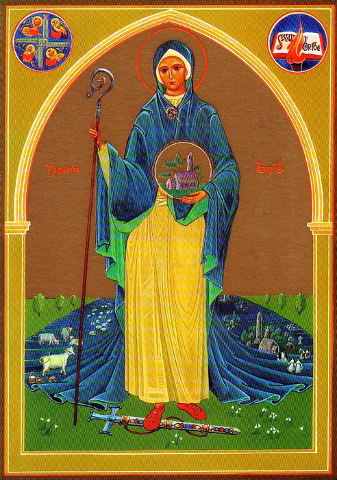 Brigid of Kildare. Follow the link to learn more about her and about this wonderful icon, written by Sr. Aloysius McVeigh RSM an displayed at the church in Kildare.